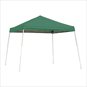 10x10 Slanted Pop-up Canopy with Black Roller Bag (Green Cover)