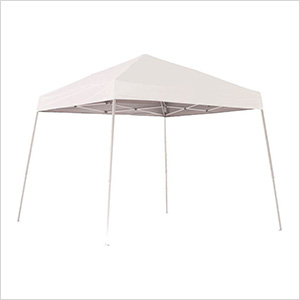 10x10 Slanted Pop-up Canopy with Black Roller Bag (White Cover)