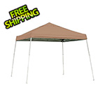 ShelterLogic 10x10 Slanted Pop-up Canopy with Black Roller Bag (Desert Bronze Cover)