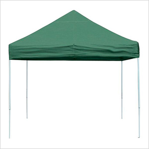 10x10 Straight Pop-up Canopy with Black Roller Bag (Green Cover)