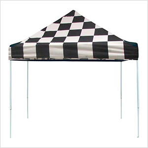 10x10 Straight Pop-up Canopy with Black Roller Bag (Checkered Flag Cover)