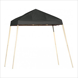 8x8 Slanted Pop-up Canopy with Black Roller Bag (Black Cover)