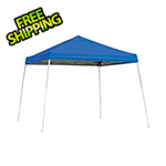 ShelterLogic 10x10 Slanted Pop-up Canopy with Black Roller Bag (Blue Cover)