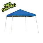 ShelterLogic 10x10 Slanted Pop-up Canopy with Black Roller Bag (Blue Cover)