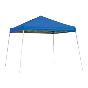 10x10 Slanted Pop-up Canopy with Black Roller Bag (Blue Cover)