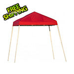 ShelterLogic 8x8 Slanted Pop-up Canopy with Black Roller Bag (Red Cover)