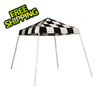 ShelterLogic 8x8 Slanted Pop-up Canopy with Black Roller Bag (Checkered Flag Cover)
