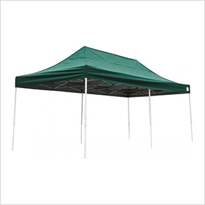 10x20 Straight Pop-up Canopy with Black Roller Bag (Green Cover)