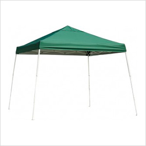 12x12 Slanted Pop-up Canopy with Black Roller Bag (Green Cover)