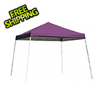 ShelterLogic 8x8 Slanted Pop-up Canopy with Black Roller Bag (Purple Cover)