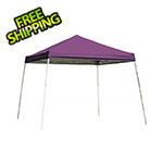 ShelterLogic 10x10 Slanted Pop-up Canopy with Black Roller Bag (Purple Cover)