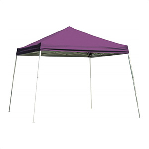 10x10 Slanted Pop-up Canopy with Black Roller Bag (Purple Cover)
