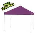 ShelterLogic 10x10 Straight Pop-up Canopy with Black Roller Bag (Purple Cover)