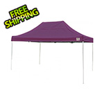 ShelterLogic 10x15 Straight Pop-up Canopy with Black Roller Bag (Purple Cover)