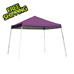 ShelterLogic 12x12 Slanted Pop-up Canopy with Black Roller Bag (Purple Cover)