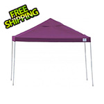ShelterLogic 12x12 Straight Pop-up Canopy with Black Roller Bag (Purple Cover)