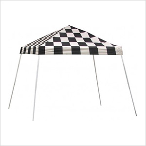 10x10 Slanted Pop-up Canopy with Black Roller Bag (Checkered Flag Cover)