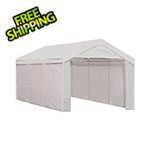"ShelterLogic 10x20 Compact Canopy with 1-3/8"" 8-Leg Frame with Enclosure Kit (White Cover)"