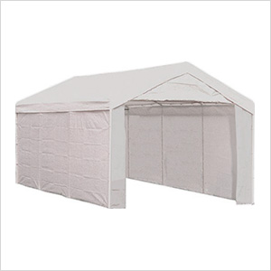 "10x20 Compact Canopy with 1-3/8"" 8-Leg Frame with Enclosure Kit (White Cover)"