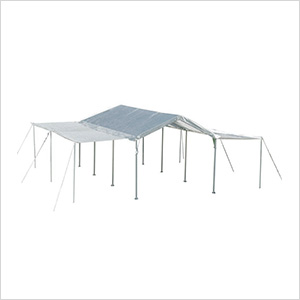 """10x20 Compact Canopy with 1-3/8"""" 8-Leg Frame with Extension Kit (White Cover)"""