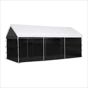 """10x20 Compact Canopy with 1-3/8"""" 8-Leg Frame with Screen Kit (White Cover)"""