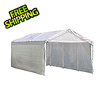 "ShelterLogic 10x20 Compact Canopy with 1-3/8"" 8-Leg Frame with Enclosure & Extension Kit (White Cover)"