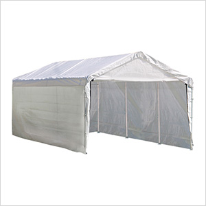 "10x20 Compact Canopy with 1-3/8"" 8-Leg Frame with Enclosure & Extension Kit (White Cover)"