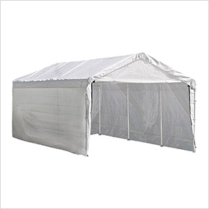 "10x20 Compact Canopy with Enclosure Kit and 2"" 8-Leg Frame (White Cover)"