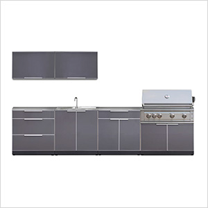Aluminum Slate 9-Piece Outdoor Kitchen Set with Countertops and Covers