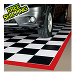 G-Floor 5' x 10' Imaged Parking Mat (Checkerboard with Red Border)