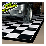 G-Floor 7.5' x 17' Imaged Parking Mat (Checkerboard with Black Border)