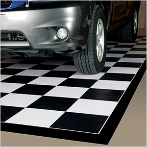 7.5' x 17' Imaged Parking Mat (Checkerboard with Black Border)