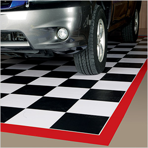 7.5' x 17' Imaged Parking Mat (Checkerboard with Red Border)