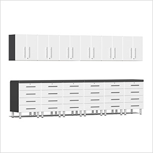 14-Piece Cabinet Kit with 2 Channeled Worktops in Starfire White Metallic