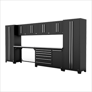 Fusion Pro 10-Piece Black Garage Cabinet Set