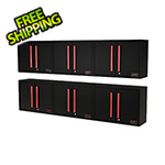 Barrett-Jackson Black and Red Wall Mounted Garage Cabinet (6-Pack)
