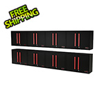 Barrett-Jackson Black and Red Wall Mounted Garage Cabinet (8-Pack)