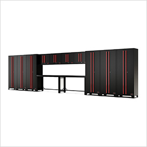 14-Piece Black and Red Garage Cabinet System