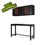 Barrett-Jackson 4-Piece Black and Red Garage Workbench System