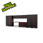 Barrett-Jackson 12-Piece Black and Red Garage Cabinet System
