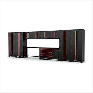 12-Piece Black and Red Garage Cabinet System