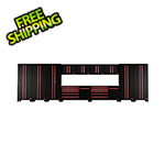 Barrett-Jackson 13-Piece Black and Red Garage Cabinet System