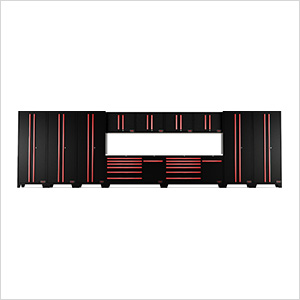 13-Piece Black and Red Garage Cabinet System