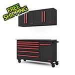 Barrett-Jackson 4-Piece Black and Red Garage Cabinet System