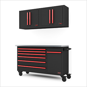 4-Piece Black and Red Garage Cabinet System