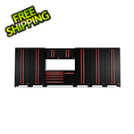 Barrett-Jackson 9-Piece Black and Red Garage Cabinet System