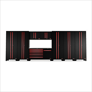 9-Piece Black and Red Garage Cabinet System