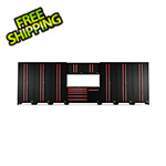 Barrett-Jackson 10-Piece Black and Red Garage Cabinet System