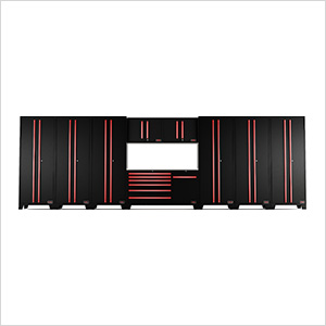 10-Piece Black and Red Garage Cabinet System
