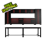 Barrett-Jackson 14-Piece Black and Red Garage Cabinet System